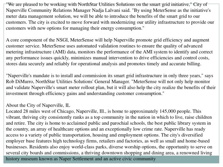 """""""We are pleased to be working with NorthStar Utilities Solutions on the smart grid initiative,"""" City..."""