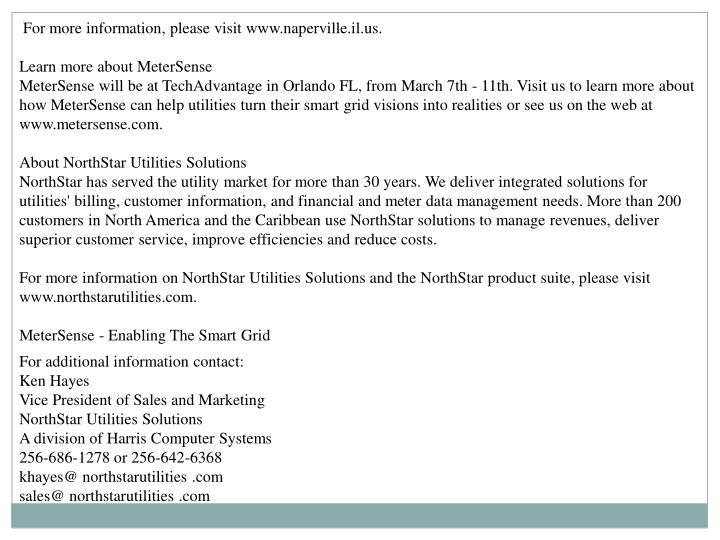 For more information, please visit www.naperville.il.us.