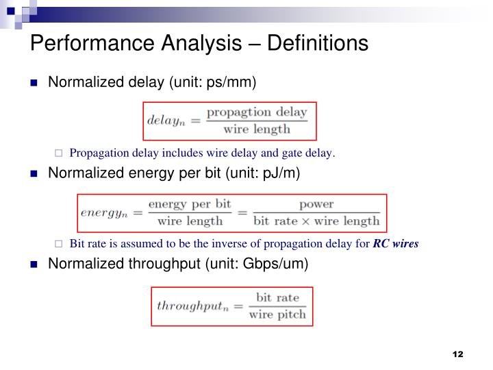 Performance Analysis – Definitions