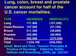 lung colon breast and prostate cancer account for half of the u s cancer mortalities