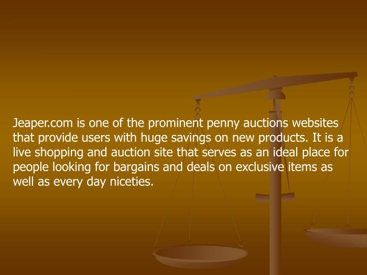 Jeaper.com is one of the prominent penny auctions websites that provide users with huge savings on n...