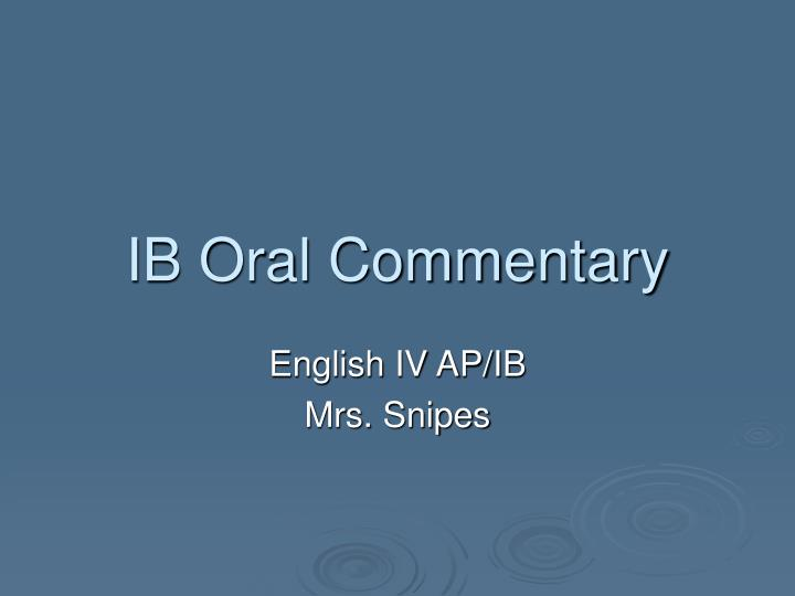 ib oral commentary n.