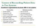 context of reconciling patient data in two systems