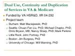 dual use continuity and duplication of services in va medicare
