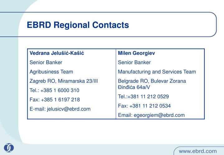 EBRD Regional Contacts