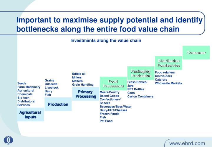 Important to maximise supply potential and identify bottlenecks along the entire food value chain