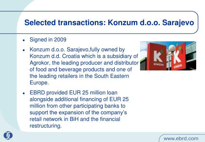 Selected transactions: Konzum d.o.o. Sarajevo