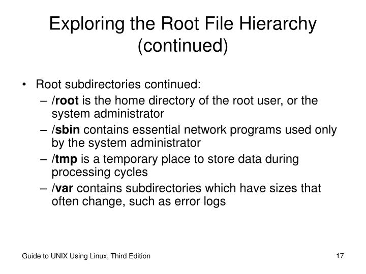 Exploring the Root File Hierarchy (continued)