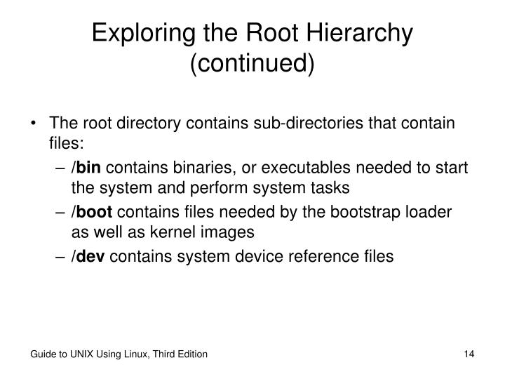 Exploring the Root Hierarchy (continued)