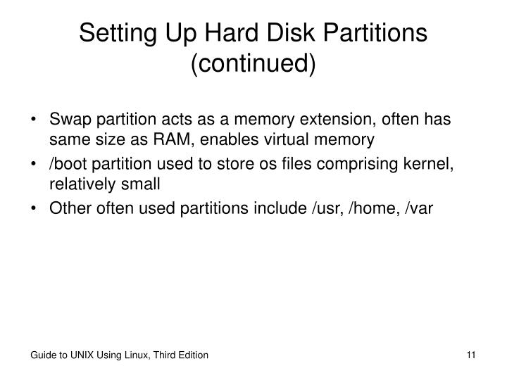 Setting Up Hard Disk Partitions (continued)