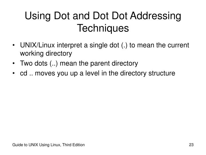 Using Dot and Dot Dot Addressing Techniques