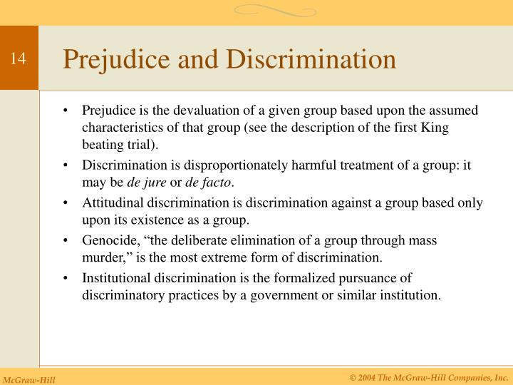 discrimination and extreme prejudice essay