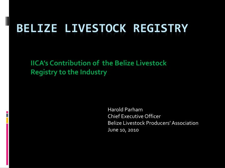 iica s contribution of the belize livestock registry to the industry n.