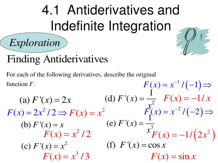 ppt 4 1 antiderivatives and indefinite integration powerpoint