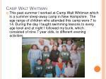 camp walt whitman