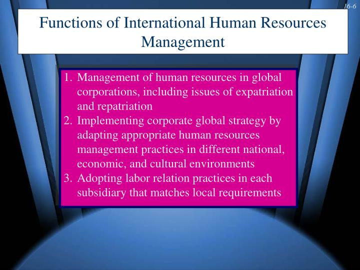 Functions of International Human Resources Management