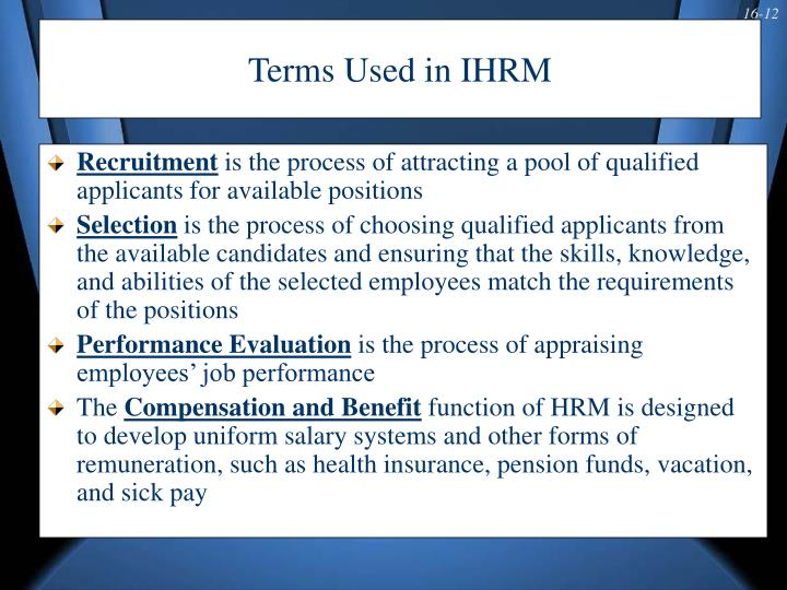 Terms Used in IHRM