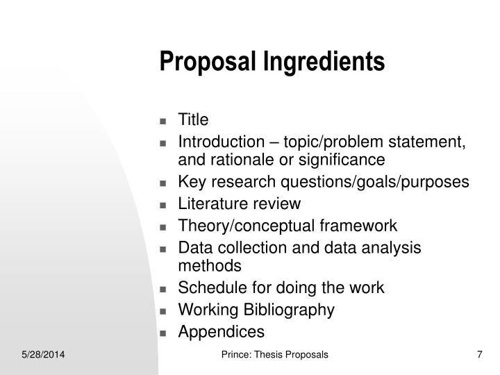 Proposal Ingredients