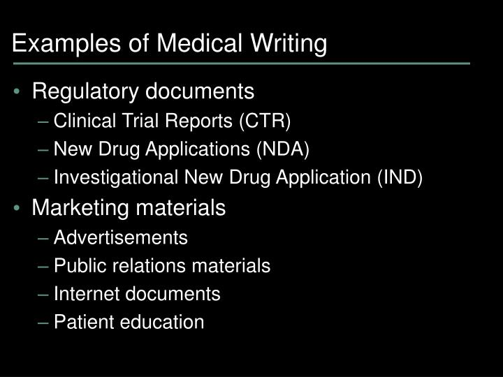 Examples of Medical Writing