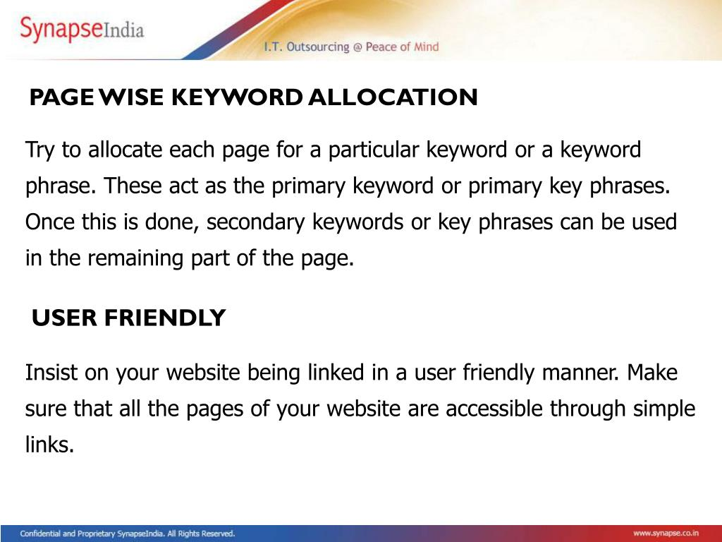 PAGE WISE KEYWORD ALLOCATION