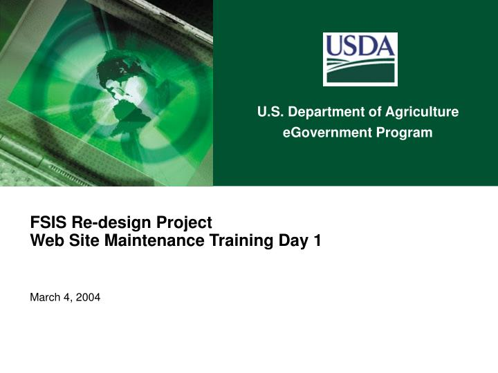 fsis re design project web site maintenance training day 1 march 4 2004 n.