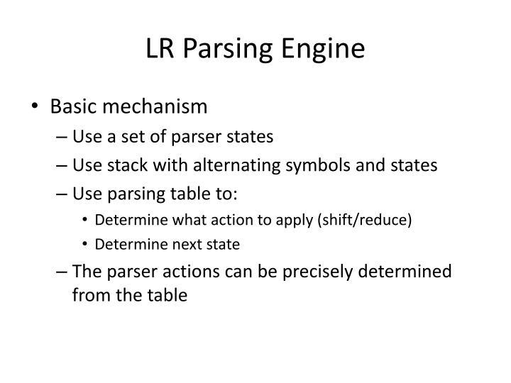 LR Parsing Engine
