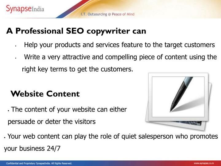 A Professional SEO copywriter can