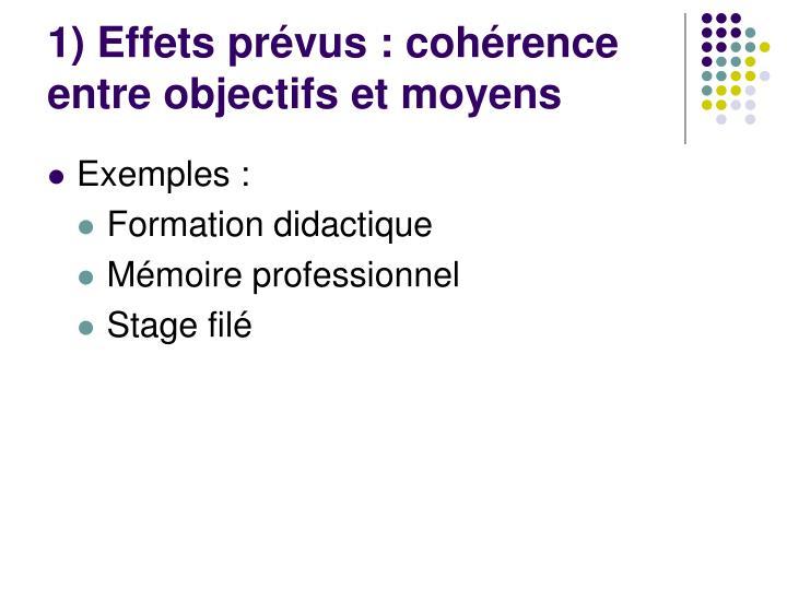 1) Effets prévus : cohérence entre objectifs et moyens
