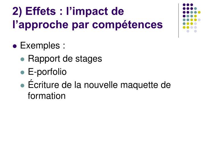 2) Effets : l'impact de l'approche par compétences