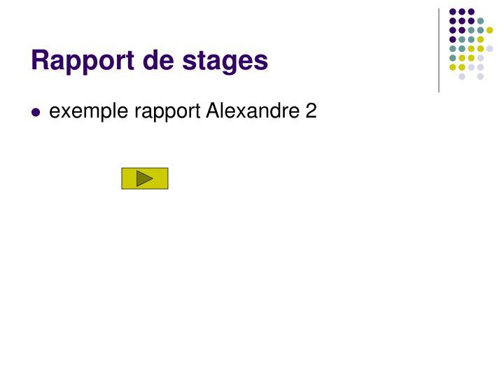 Rapport de stages