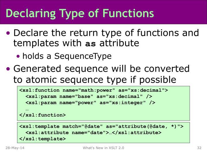 Declaring Type of Functions