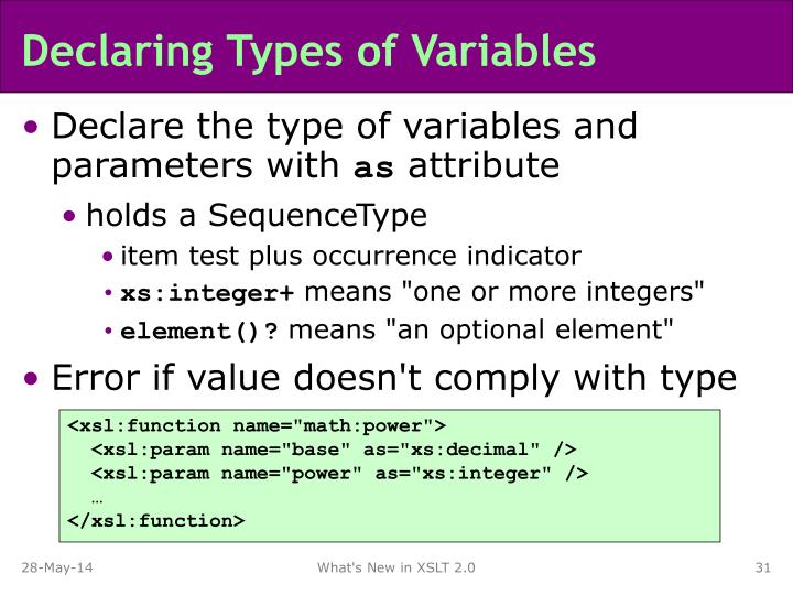 Declaring Types of Variables