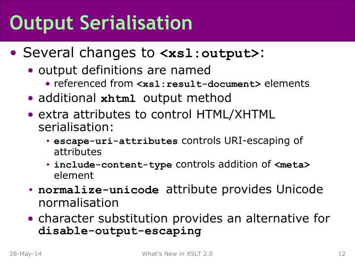 Output Serialisation