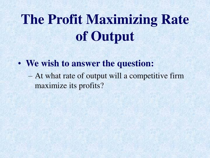 maximization of profit in manufacturing industries Making aid in almost all industries single manufacturing facility or for corporate planning involving resource allocation and profit maximization for a furni.