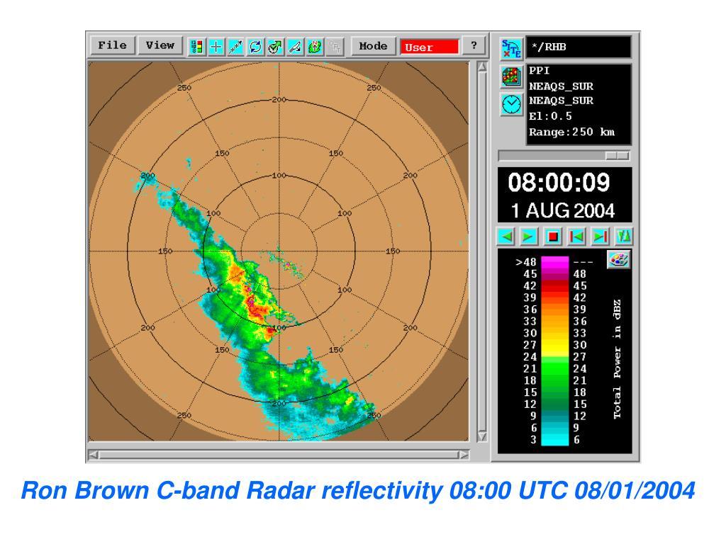 Ron Brown C-band Radar reflectivity 08:00 UTC 08/01/2004