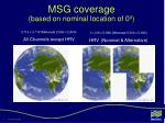 msg coverage based on nominal location of 0