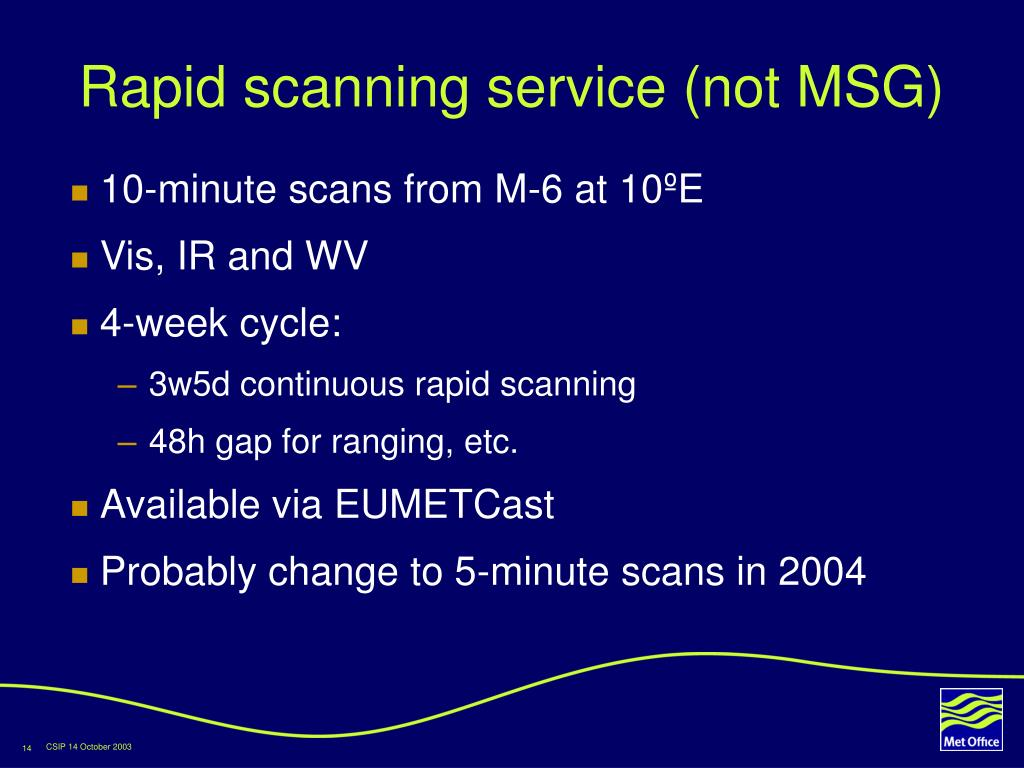 Rapid scanning service (not MSG)