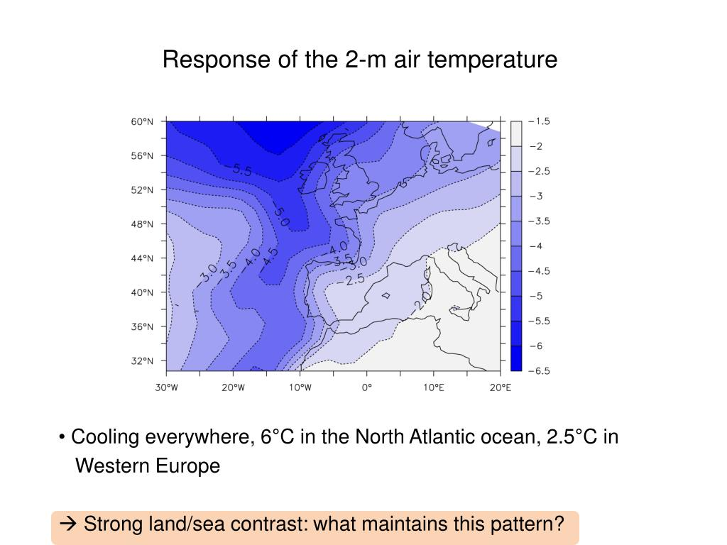 Response of the 2-m air temperature