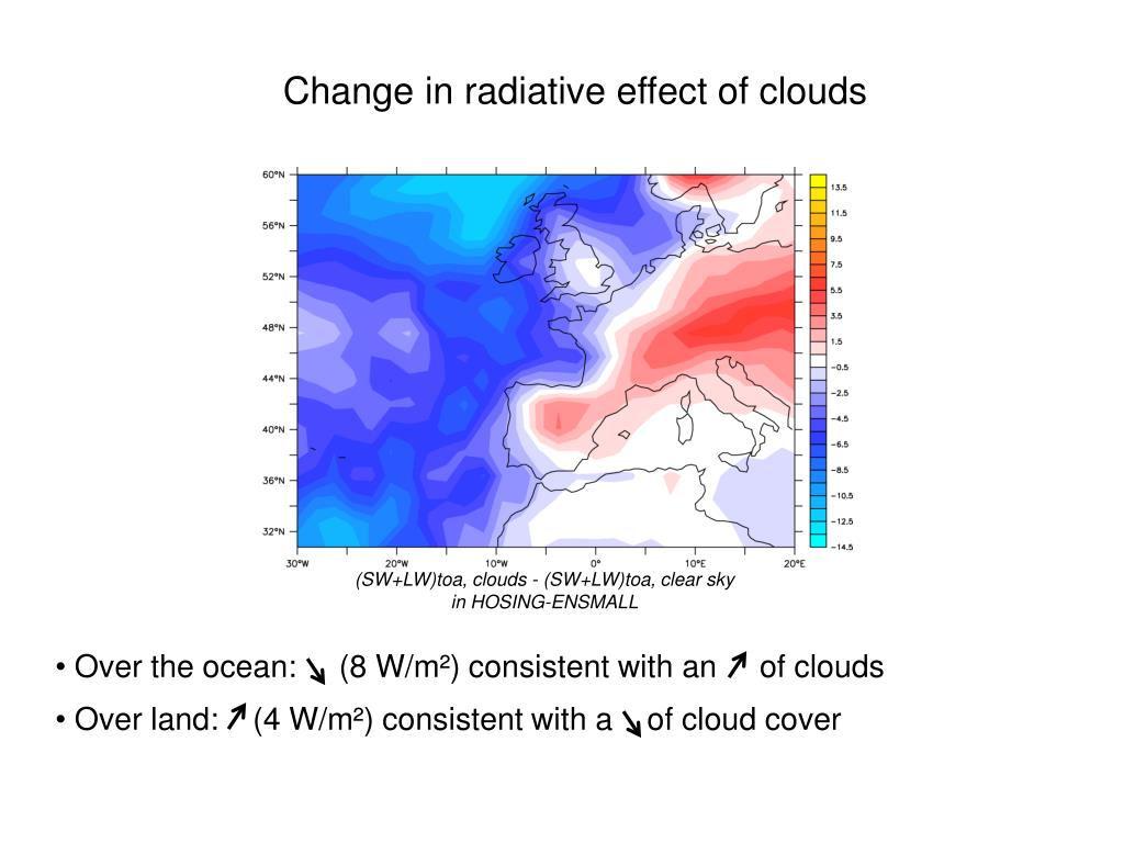 Change in radiative effect of clouds