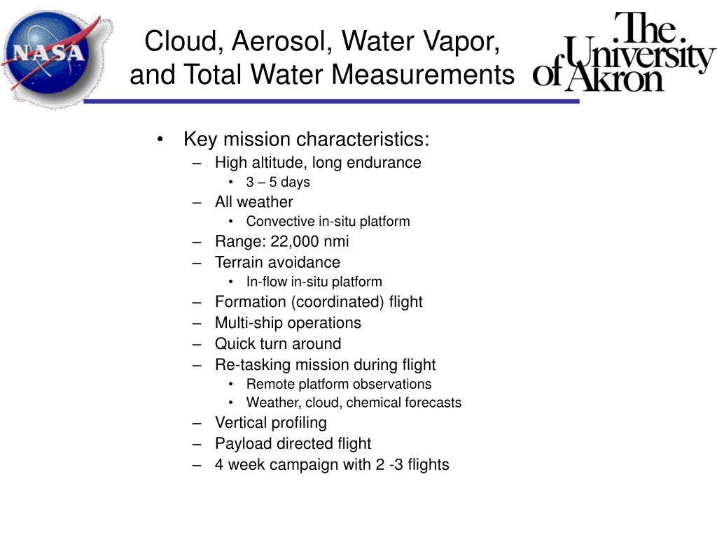 Key mission characteristics: