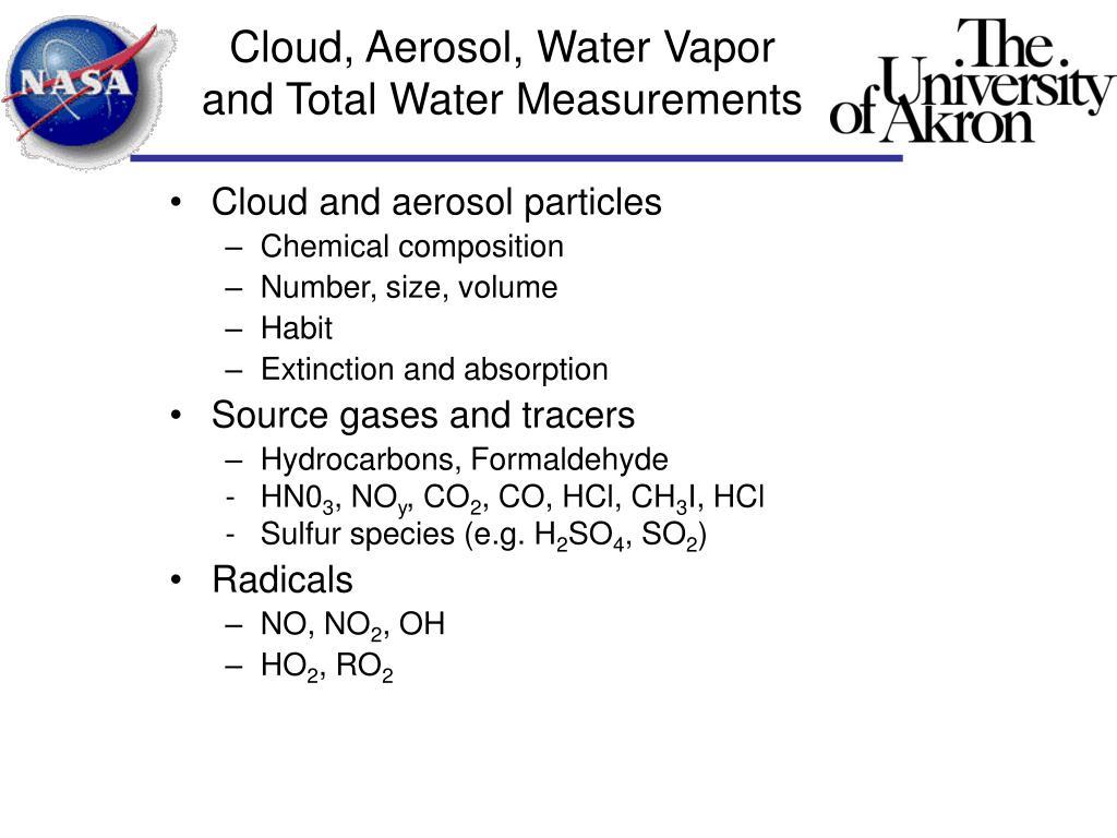 Cloud, Aerosol, Water Vapor