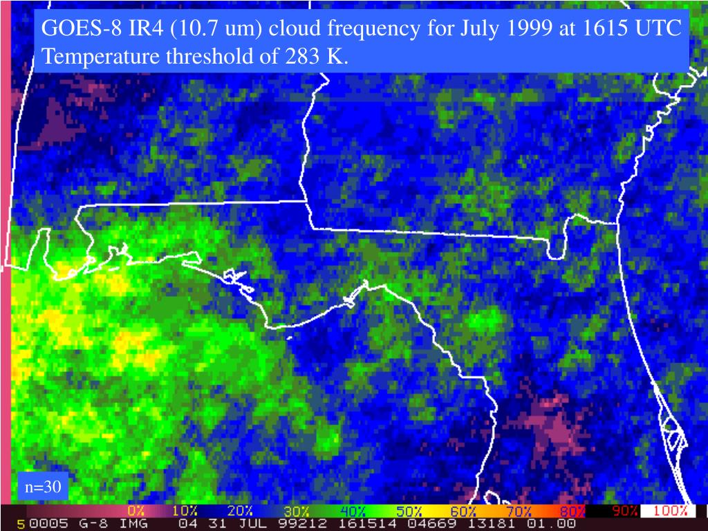 GOES-8 IR4 (10.7 um) cloud frequency for July 1999 at 1615 UTC