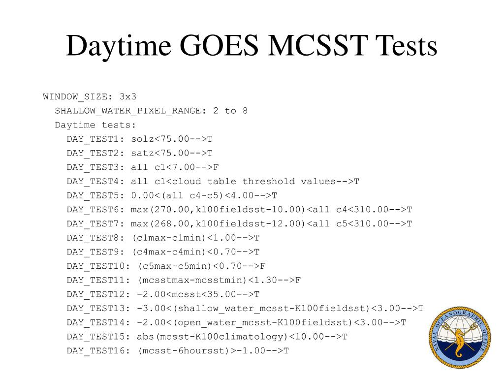 Daytime GOES MCSST Tests