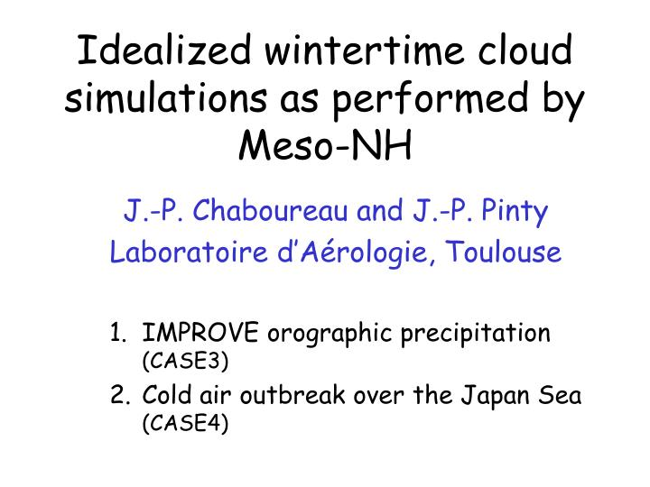 Idealized wintertime cloud simulations as performed by meso nh