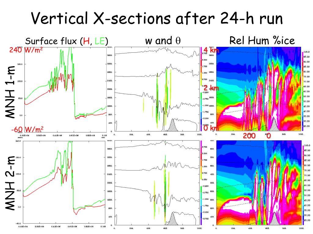 Vertical X-sections after 24-h run