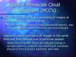 types of mesoscale cloud climatologies mcc s