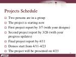 projects schedule