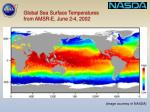 global sea surface temperatures from amsr e june 2 4 2002