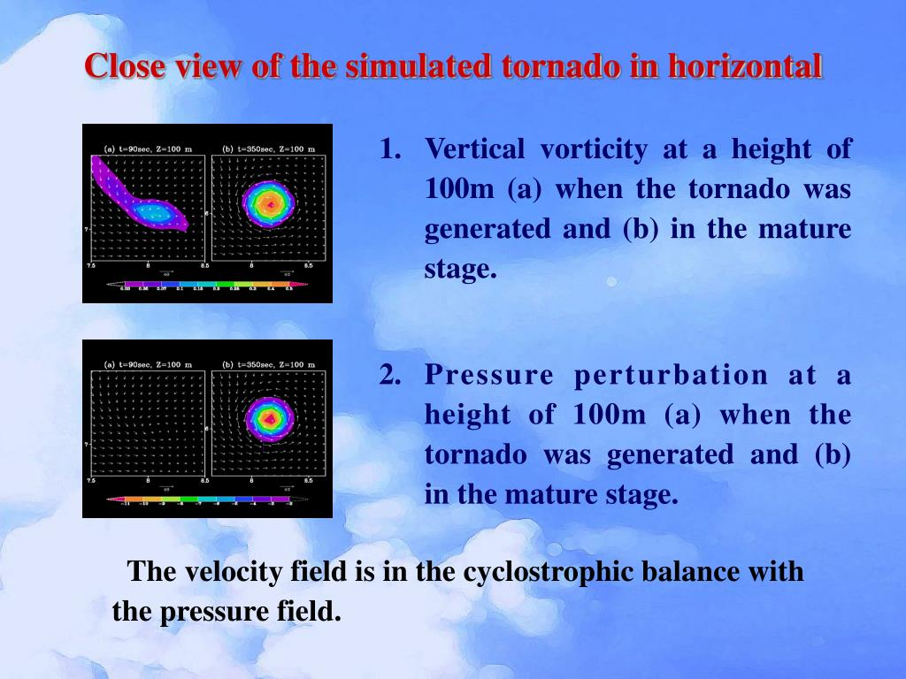 Close view of the simulated tornado in horizontal