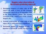 doppler radar observation of the tornado producing super cell